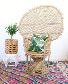 Fall? Pshhhhhh still pretending it's summer over here! Peacock chair $225, little plant stand $35