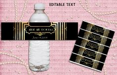 Great Gatsby Style Art Deco Water Bottle Labels par StudioDMD, $8.00