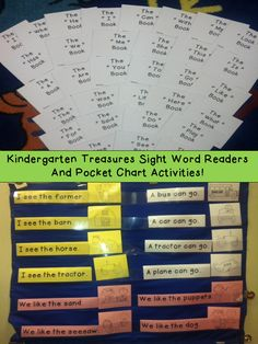 Treasures Kindergarten curriculum. Sight Word Readers and Pocket Chart Activities for all 31 sight words! Sight word books are quick and easy to make with just two folds! Pocket chart activities make instant literacy stations for the whole year! Also includes a set of flashcards that can be used for additional games! $