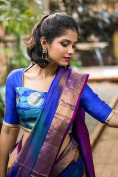 Blue shibori brocade blouse with rich details #blouse #shibori #houseofblouse