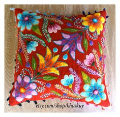 Red Boho Flower Pillow cover Peruvian embroidered Sheep & alpaca wool 16 x 16 handmade by khuskuy on Etsy