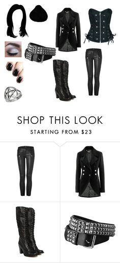 """Her time of eccentric and elaborate Goth outfits were over. [SiS2]"" by monochromereflections ❤ liked on Polyvore featuring Balmain, Strenesse, Frye and Urban Decay"