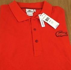 Lacoste Men's Short Sleeve Polo Shirt 8L XLT New NWT Orange Large Croc Logo  #Lacoste #PoloRugby