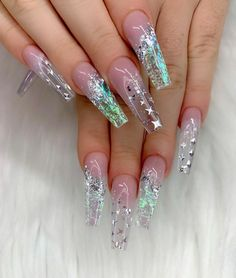 Dreamy And Stunning Glitter Arcylic Coffin Nail Designs You Need To Know; New Year Nails; Valentine's Day Nail Designs, Cute Acrylic Nail Designs, Best Acrylic Nails, Nails Design, Bling Nails, Gold Nails, My Nails, Bling Bling, Jolie Nail Art