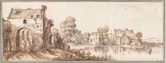 Gezicht op een dorp langs een rivier, Jan van de Velde, ca. 1616 John and Marine van Vlissingen Art Foundation