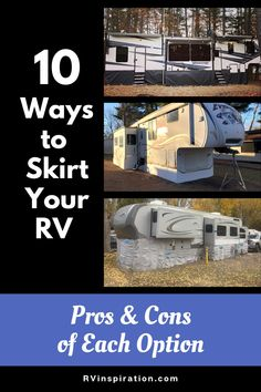 RV skirting options for every budget, plus the pros and cons of each - An in-depth comparison of all the different ways to skirt a camper to protect plumbing and prevent heat loss when RVing in cold weather. Vinyl Skirting, Rv Parks, Cold Weather, Camper, Rv Mods, Diy Projects Cans, Eid Outfits, Diy Rv, Types Of Skirts