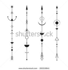 Set of abstract arrows - tattoo, design elements. Minimalism