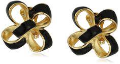 Kenneth Jay Lane Black Enamel Bow Clip-On Earrings-珠宝首饰-亚马逊中国-海外购 美亚直邮