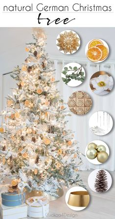 Natural German Christmas Tree with pinecones German wooden snowflake cutouts dried orange slices Christmas roses eucalyptus straw stars and icicles on flocked Christmas tree with brass Christmas tree collar Orange Christmas Tree, Natural Christmas Tree, Christmas Rose, Nordic Christmas, German Christmas, Holiday Tree, Holiday Decor, Christmas 2019, Merry Christmas