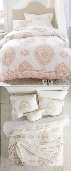 Kids Boho Bedding: Elegance meets boho on the Aria Medallion Bedding Look. It features the Bohemian Fringe Throw and the Bohemian Fringe Plush Pillow for whimsical statement pieces and a luxe sateen sheet set so you can snooze in supersoft style. #girlsbedding #littlegirlsbedding #floralbedding #girlsbedroomideas #kidsbedding #girlsbedroom, #girlsroom, #kidsroomsgirlsdreamrooms #kidsbedroomideas #girlsbedroomideasteenage #teengirlbedding Bohemian Bedding Sets, Boho Bedding, Paisley Bedding, Floral Bedding, Teen Girl Bedding, Teen Girl Bedrooms, Plush Pillow, Bed Pillows