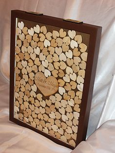 Personalized wooden heart drop box guest book 200 or 250 Hearts to sign. Guests sign a heart and then drop through one. Could place middle heart backwards so after wedding over. flip it around and it's reversible! Camo Wedding, Wedding Boxes, Post Wedding, Wedding Cards, Diy Wedding, Guest Book Sign, Wedding Guest Book Alternatives, Wedding Pinterest, Wooden Hearts