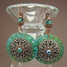 Verdigris and Copper Large Disc Drop by CayaCowgirlCreations,
