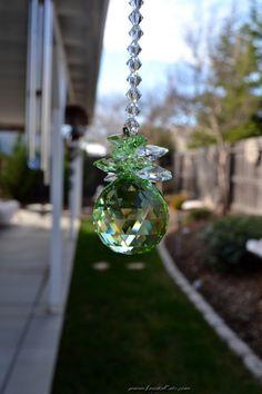 12 Long Peridot Chandelier Crystal by KrystalKatsMoonBeams Chandelier Crystals, Chandeliers, Homemade Ornaments, Sun Catcher, Etsy Handmade, Peridot, Wind Chimes, Christmas Bulbs, Glass Vase