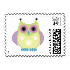 Star Owl - Green Purple Blue Stamps