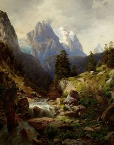 oil paintings of the alps | Adalbert Waagen, Hunting in the Alps . Oil on canvas, 52 x 41 1/2 ...