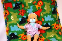 Wild Animals 20x20 Crochet Edge Fleece Baby Doll Blankets by MonaSewingTreasures on Etsy