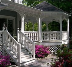 Porch with attached gazebo.perfect add-on to my wrap around porch. Notice the impeccable detailing! Porch Gazebo, Pergola, Screened In Porch, Backyard Gazebo, Backyard Retreat, Front Porches, Home Porch, House With Porch, Victorian Porch