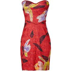 Rental Missoni Lurex Rose Dress (2.315 ARS) ❤ liked on Polyvore featuring dresses, red, fitted dresses, rose dress, sweetheart neckline dress, floral fitted dress and sweet heart rose dress