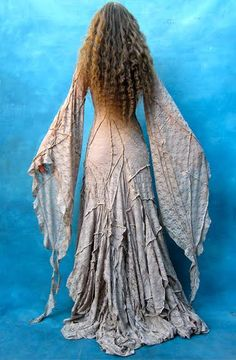 Crinkly medieval faerie fairy gown dress renaissance