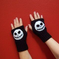 Jack Skellington inspired fingerless gloves by cuteittybitty