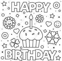 Cupcake Coloring Pages, Mom Coloring Pages, Printable Coloring Pages, Coloring Books, Colouring, Coloring Birthday Cards, Happy Birthday Coloring Pages, Happy 21st Birthday, Happy Birthday Images