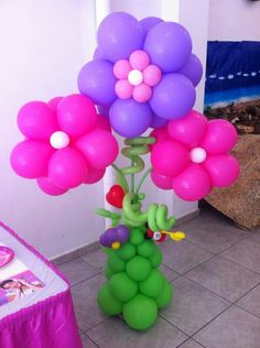 Flowers baloons power party Flores globos colores bouquet fiesta
