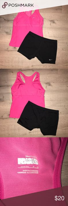 Nike workout Bundle - Shirt and Shorts Nike brand black shorts and Nike pink shirt with bra insert.  All are stretchy. Great condition. ✨Bundle and Save✨ Nike Tops Tank Tops