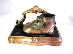 Vintage Baby Shoe Bookend in Copper by vintageexchange on Etsy, $21.00