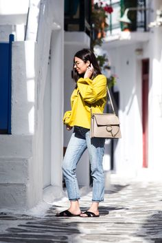 Greek islands fashion in Mykonos - Stella Asteria  wearing a casual chic outfit with Chloé Faye bag