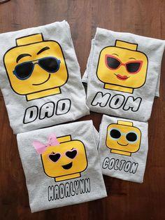 Family Shirts Color Tees Personalized Shirts Brick | Etsy Kids Birthday Party Invitations, Lego Birthday Party, 4th Birthday Parties, 7th Birthday, Birthday Ideas, Family Birthday Shirts, Family Shirts, Lego Shirts, Lego Themed Party