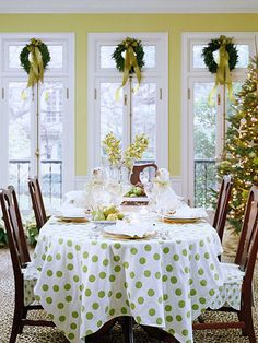 Adding a little whimsy to Christmas with a polka dot tablecloth