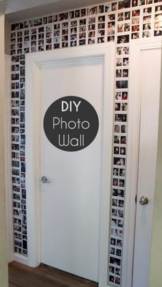 Take a wall (or hall) from drab to fab with this simple DIY photo wall. It's a perfect way to celebrate everyday memories. Click through to get all the DIY details, including the best way to attach all those pics. by shopportunity Diy Wand, Diy Photo, Photo Ideas, Wedding Picture Walls, Wedding Pics, Wedding Wall, Dorm Room Doors, Diy Wall Decor For Bedroom, Bedroom Decor