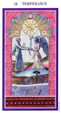 Temperance - Enchanted Tarot (Zerner-Farber Tarot) by Amy Zerner, Monte Farber Tarot Cards Major Arcana, Dylan Dog, Le Tarot, Fortune Telling Cards, Cartomancy, Tarot Card Decks, Picture Cards, Enchanted, Oracle Cards