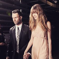 Adam Levine and Behati a Prinsloo Levine at The Grammys 2015