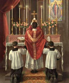 A priest offering the Holy Sacrifice of the Mass