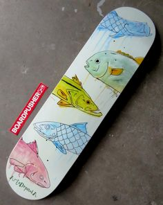 """William DePaula applying his Florida Keys influence and drip art style to today's Featured Deck """"Backcountry Fish"""". Check out more of William's available skateboard graphics at http://www.BoardPusher.com/shop/artedepaula.  Use whatever influences you to create your own custom skateboard designs on http://www.BoardPusher.com."""