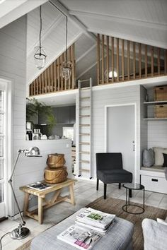 home decor for small spaces I like the rails on this loft Icelandic Curiosity Continues More Spaces!~my head space - home decorating, interior design amp; Tiny House Living, Home Living Room, Small Living, Living Spaces, Living Area, Tiny House Family, Kitchen Living, Family Room, Compact Living