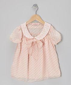 Pink Polka Dot Puff-Sleeve Top - Toddler & Girls