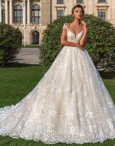 crystal design 2018 cap sleeves sweetheart neckline full embellishment romantic princess ball gown wedding dress sheer button back chapel train (steffani) mv -- Crystal Design 2018 Wedding Dresses