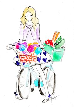 trip to the farmers market. Girl on bicycle. Watercolor Fashion Illustration Print. #etsy