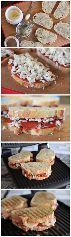 Cheesy Grilled Pizza Sandwiches