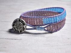 Bead Wrap Around Lavender and Sky Blue Bracelet Get $5 off yours with code summerfun15