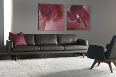 mid century furniture set consisting of black leather sofa with red accent pillow black chair with cross wood base wonderful wall arts grey concrete walls white area rug of Make Your Guests Impressed with These Fabulous Mid Century Living Room Sets Accented with Modern Style