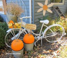 Organized Clutter: Primping My Bike For Fall Paint Bike, White Spray Paint, Clutter Organization, Autumn Cozy, Harvest Time, Halloween Decorations, Fall Decorations, My Flower, Fall Crafts