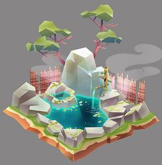 Concepts for Monster Life - Véronique Meignaud Isometric Art, Isometric Design, Bg Design, Game Design, Environment Concept, Environment Design, Low Poly Games, Polygon Art, Low Poly Models