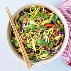 Zucchini Noodle Salad With Mango, Basil, Mint And Spicy Sesame Sriracha Dressing via @feedfeed on https://thefeedfeed.com/foodgays/zucchini-noodle-salad-with-mango-basil-mint-and-spicy-sesame-sriracha-dressing