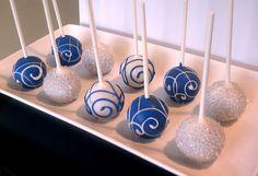 Elegant Cake Pops in Blue & White - FREE SHIPPING Winter, Birthday, Baby Shower, Bridal Shower, Wedding Favors