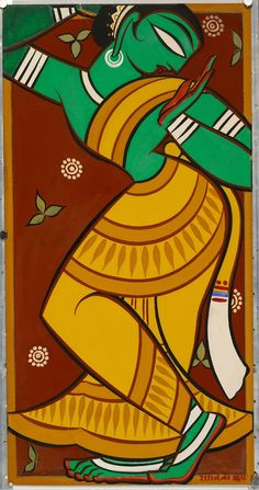 Painting of Dancing Gopi by Jamini Roy c1950s. For more high resolution Indian arts please visit http://oldindianarts.in