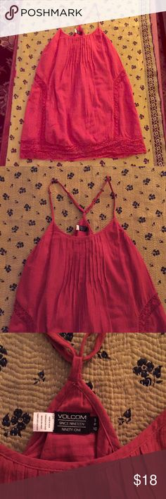 Volcom Red Love Bound Dress Camp style deep red dress. Lace insets and scalloped lace trim paneling. Adjustable straps connected at back. 100% Cotton. Volcom Dresses Mini