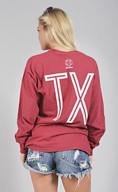 charlie southern: retro state long sleeve [texas] - red